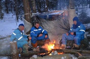 Tim Peake (middle) endures winter survival training with Soyuz crewmates Tim Kopra and commander Sergei Zalyotin. Temperatures fell to -24C at night. Credit: GCTC