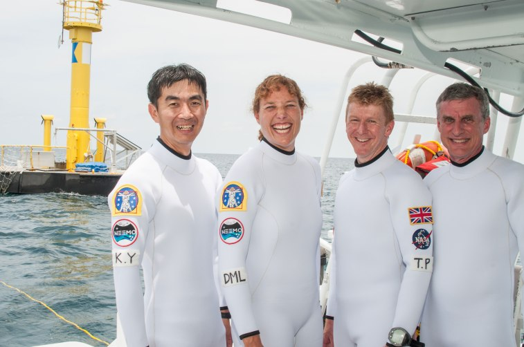 Members of the NEEMO 16 Crew are, from left to right: Kimiya Yui (JAXA), Dottie Metcalf-Lindenburger (NASA), Tim Peake (ESA), Steve Squyres (Cornell, NASA Advisory Council).