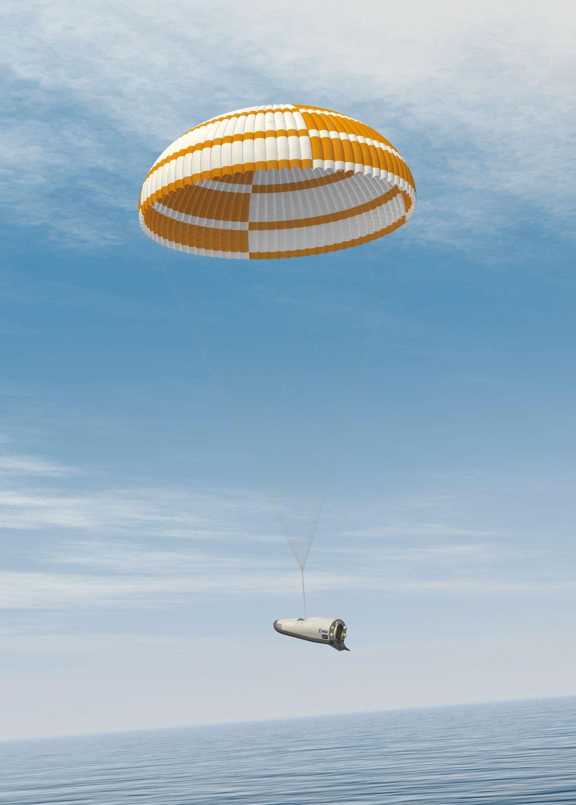 Artist's view of parachute deployment. Credit: ESA–J. Huart