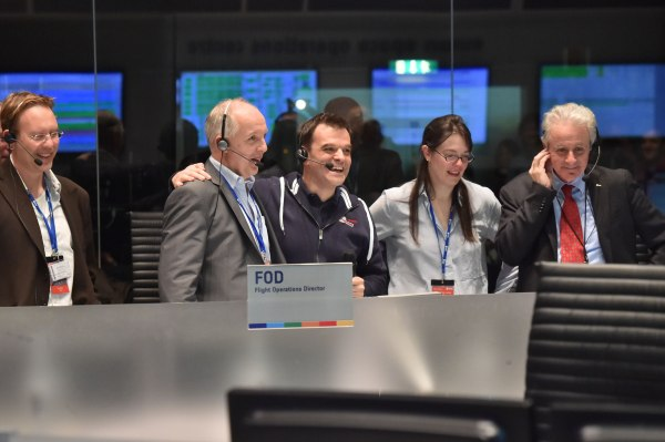 The Rosetta mission crew celebrate Philae successfully landing on comet 67P, at the European Operations Space Centre in Darmstadt, Germany  on 12 November 2014.  Credit: ESA/J.Mai