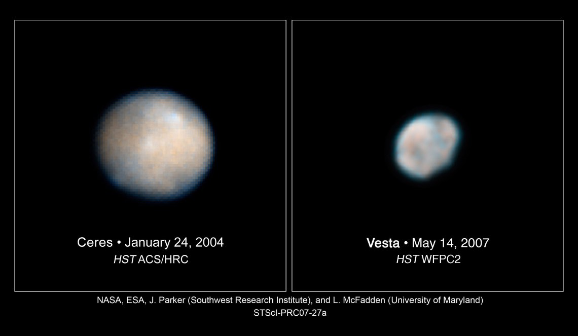 These Hubble Space Telescope images of Vesta and Ceres show two of the most massive asteroids in the asteroid belt, a region between Mars and Jupiter.  The images were used to help astronomers plan for the Dawn spacecraft's tour of these hefty asteroids before it even launched.