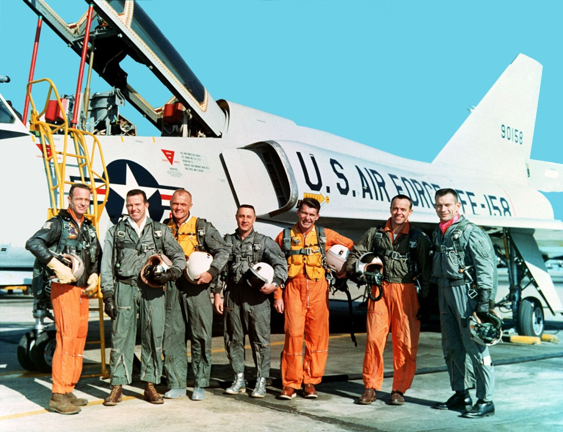 The Original Mercury Seven astronauts with a U.S. Air Force F-106B jet aircraft. From left to right: Scott Carpenter, Gordon Cooper, John Glenn, Gus Grissom, Wally Schirra, Alan Shepard, Deke Slayton. Credit: NASA
