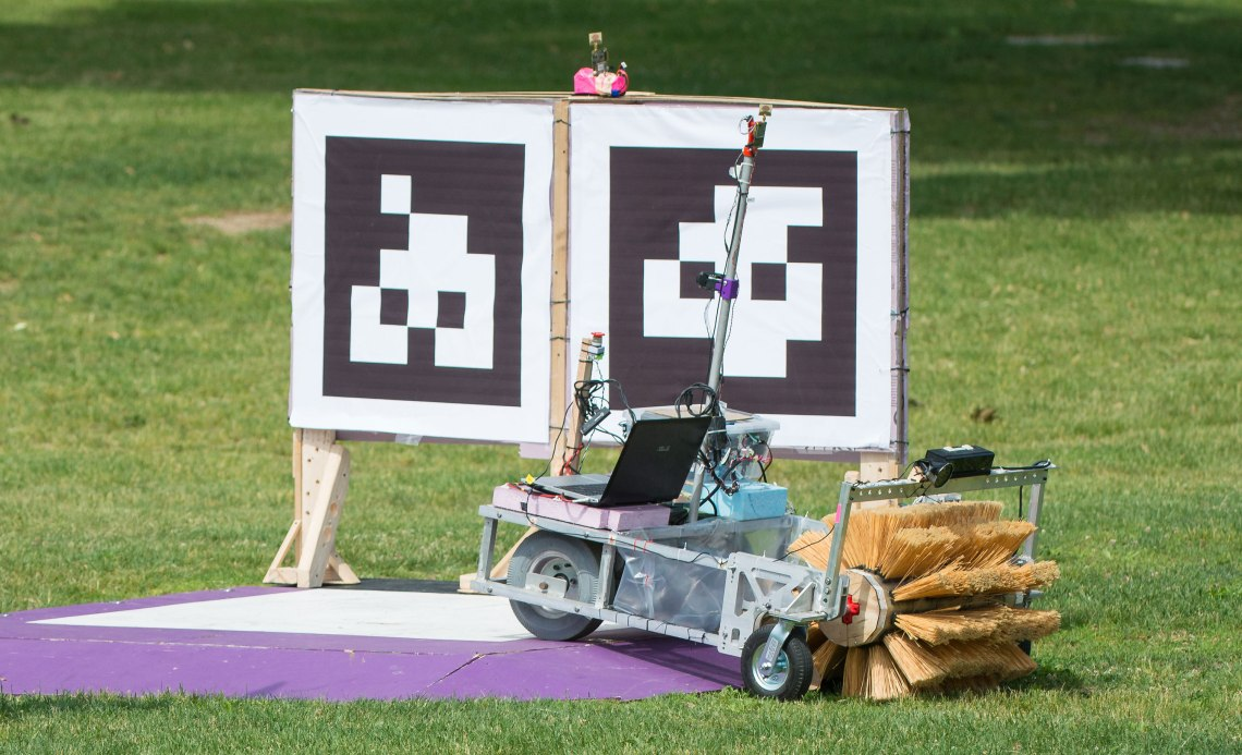 The Mind and Iron team robot is seen as it drives off the starting platform during a rerun of the level one challenge at the 2015 Sample Return Robot Challenge. Credit: NASA/Joel Kowsky