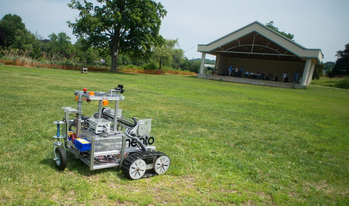 The Army of Angry Robots team robot is seen during a rerun of the level one challenge at the 2015 Sample Return Robot Challenge. Credit: NASA/Joel Kowsky