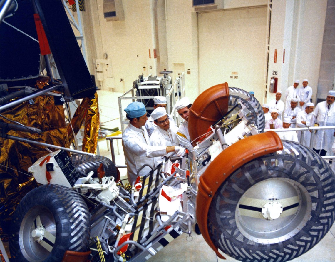 Lunar Rover No.1, is stowed inside the Apollo 15 Lunar Module at the Manned Spacecraft Operations Building at Kennedy Space Center, Florida. When completely stowed, all four wheels of the LRV are folded against the chassis. Credit: NASA via Retro Space Images