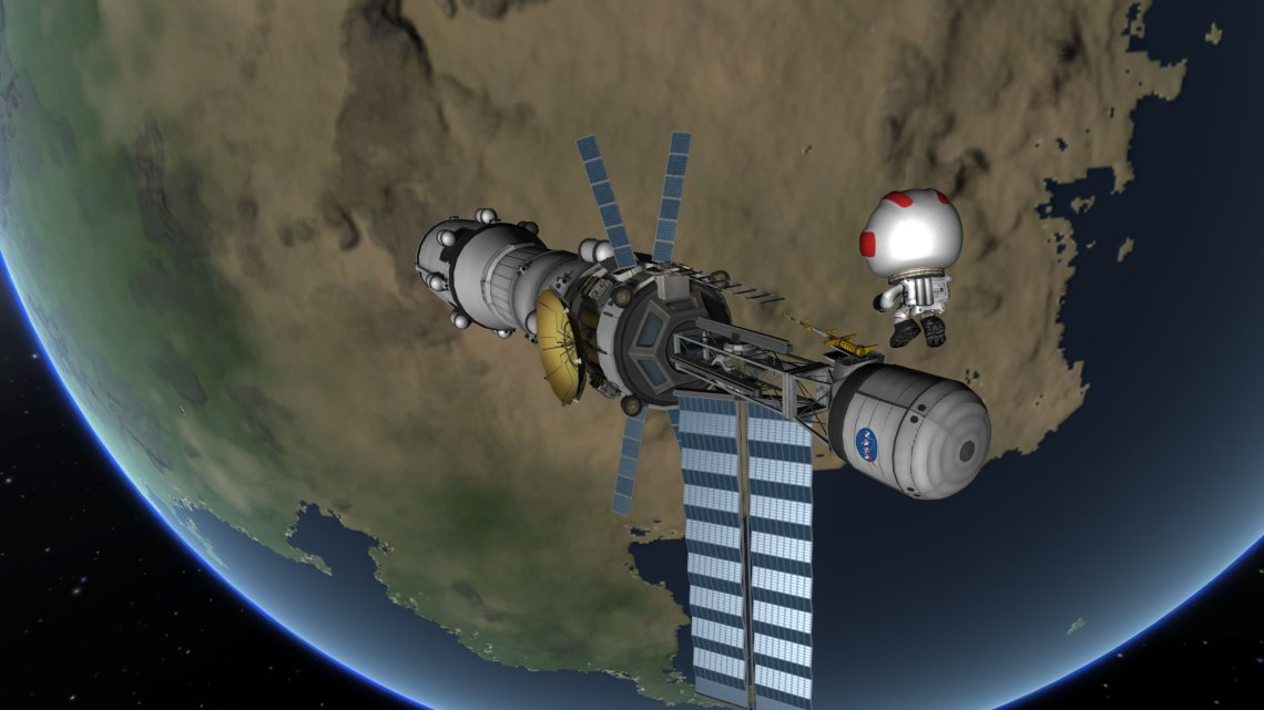 In Kerbal Space Program, your home planet is called Kerbin, and there are two moons in orbit. Credit: Squad, Monkey Squad S.A de C.V.