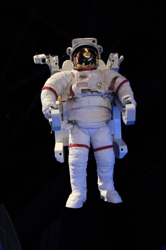 Shuttle era spacesuit and EMU. Credit: Lloyd Campbell