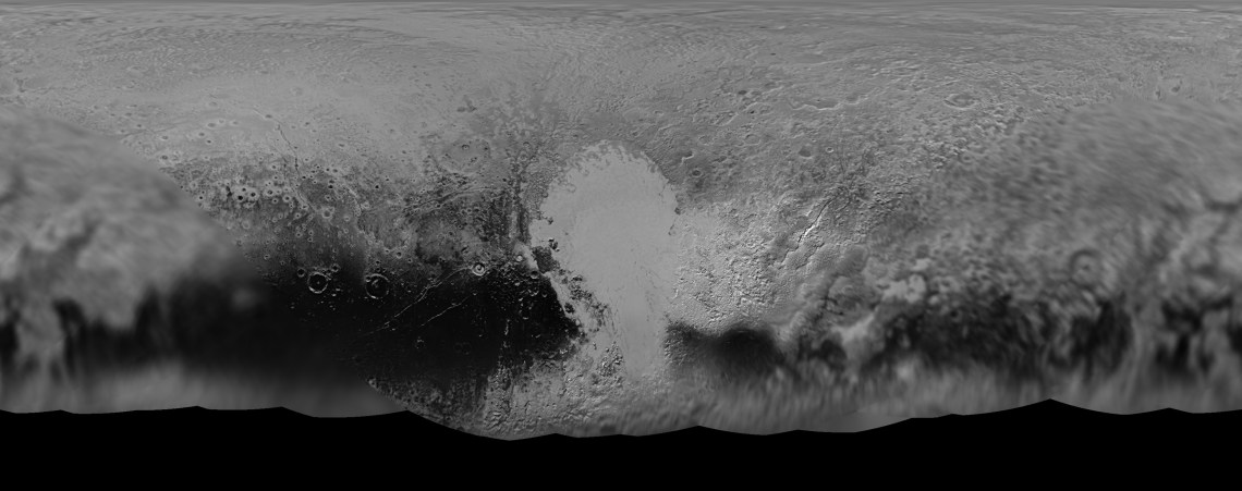 Fig 4 (b): Panchromatic composite global map of Pluto created from images taken at varying distances, and hence, at different resolutions. Sputnik Planum is clearly visible. The dark features along the equatorial region are also clearly resolved. Note that much of the southern hemisphere, currently tilted away from the Sun, is not shown in this map. Credit: NASA/JHUAPL/SwRI