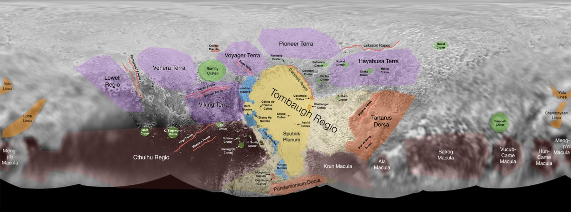 Figure 6: Informal names for regions on Pluto, based on a public naming campaign endorsed by the IAU, in partnership with NASA's New Horizons mission and the SETI Institute. Credit: NASA/JHUAPL/SwRI/SETI Institute