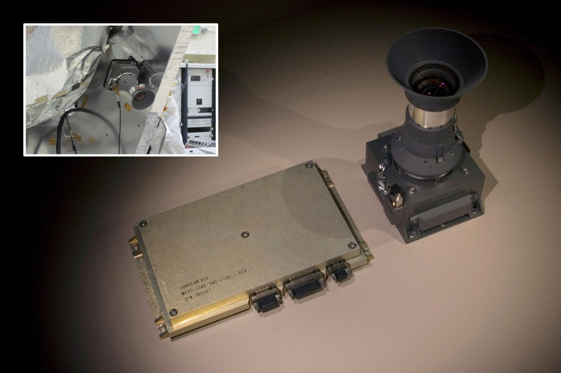 The JunoCam consists of a camera head and an electronics box, which is housed inside the spacecraft's protective radiation vault). In the inset image, JunoCam is shown mounted on the orbiter. Credits: NASA / JPL-Caltech
