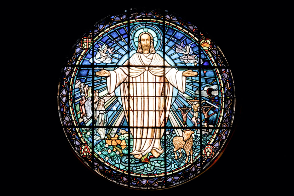 stained glass picture of Jesus