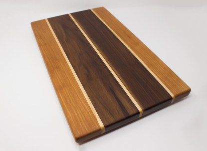 Cherry and Walnut with Maple Stripes Angled
