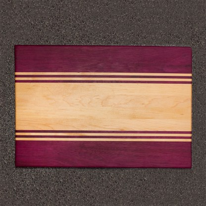 Purpleheart and Maple Stripped Cutting Board Top View