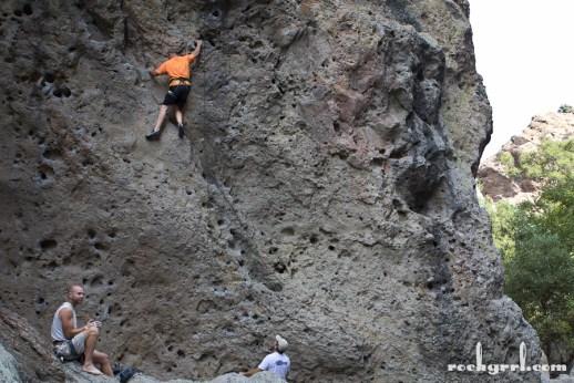 My photo of John Long climbing at Malibu Creek. K is belaying