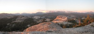 Panorama from the top of Daff Dome near sunset