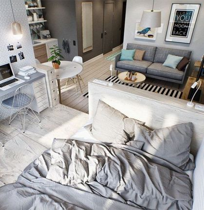 One room apartment layout design ideas 67