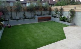 Small courtyard garden with seating area design and layout 105