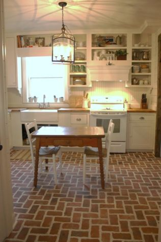 Amazing Brick Floor Kitchen Design Inspirations 13