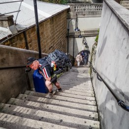 Uffe working hard in the stairs