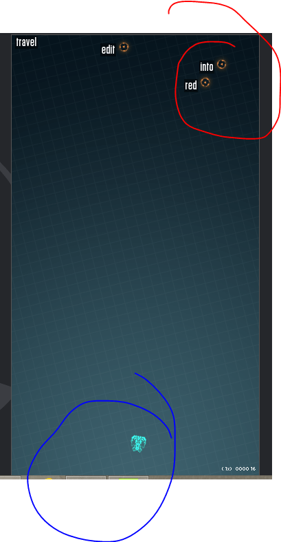 Z-Type: Você [em azul] precisa digitar para abater os inimigos [em vermelho].