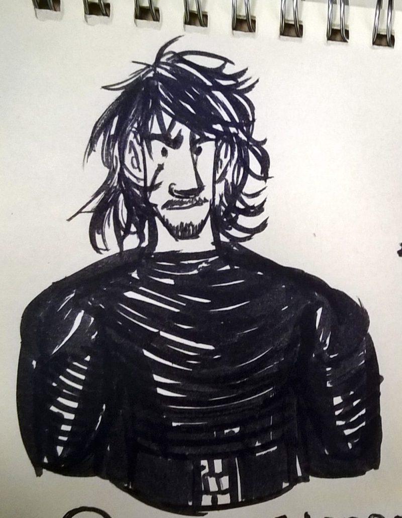 rabisco feito a caneta pincel, de Kylo Ren.