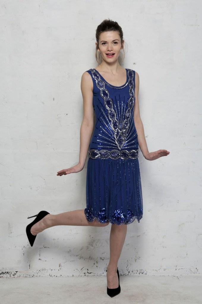 Frock and Frill Zelda Flapper Dress Blue - Bright Beaded Dress