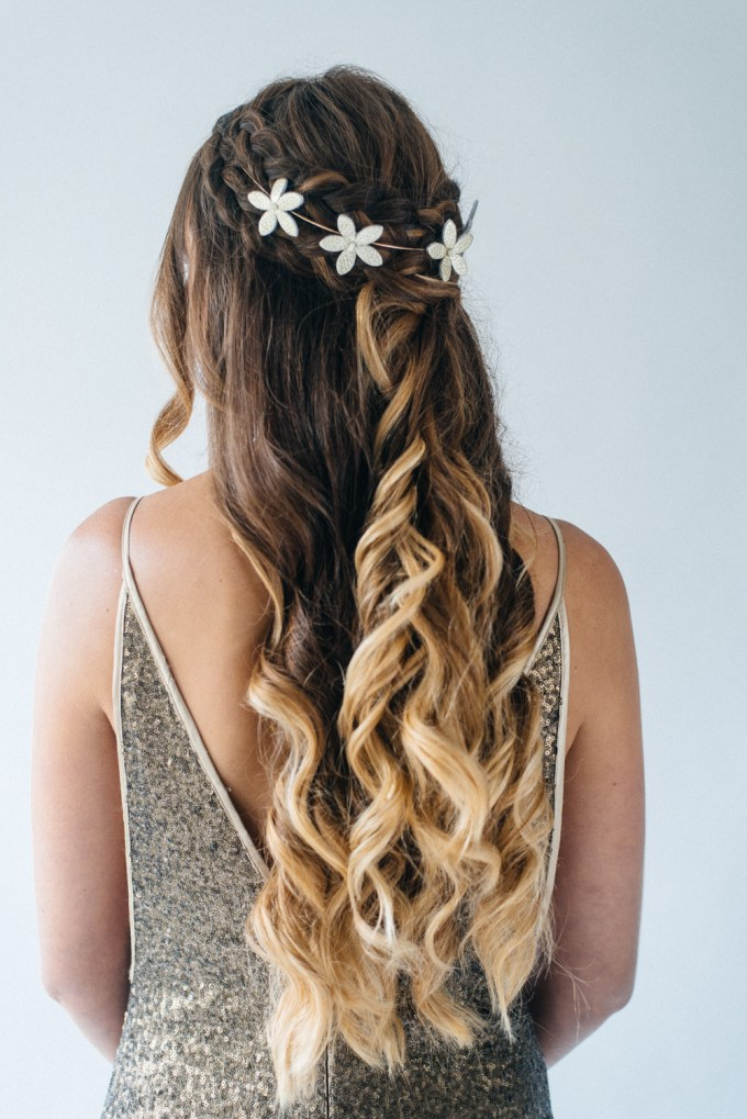 inspiration for half up half down wedding hair with tousled