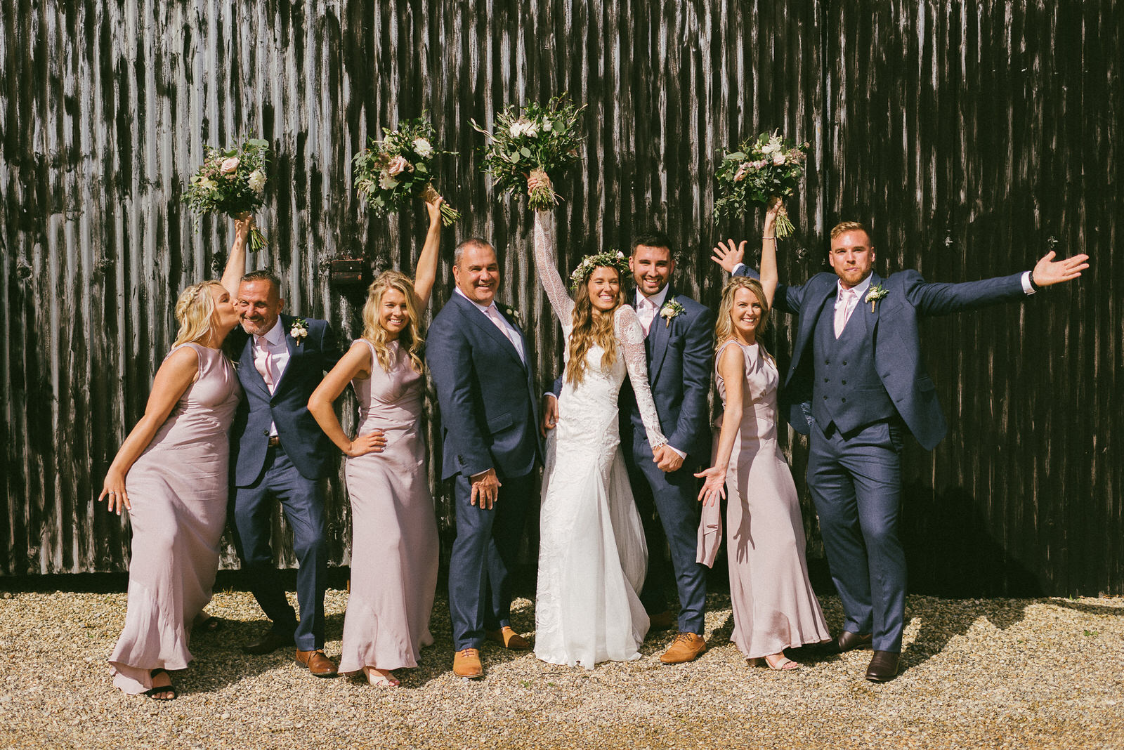 Dusky Pink Flowers, Grace Loves Lace Dress with Sweetie Table Wedding