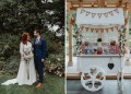 Rustic Wedding with Sweetie Cart and Teal Bridesmaid Dresses