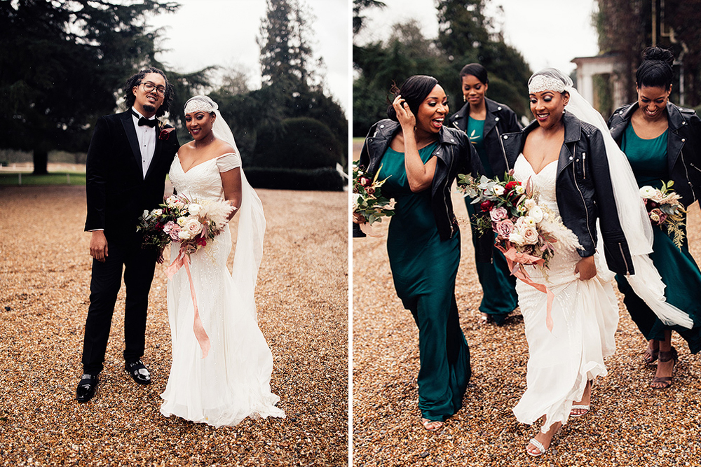 Winter Wedding with Bride in a Juliet Cap Veil & Eliza Jane Howell Gown