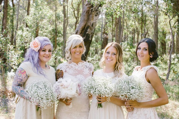 fabric flowers and gypsophila bridesmaids bouquets