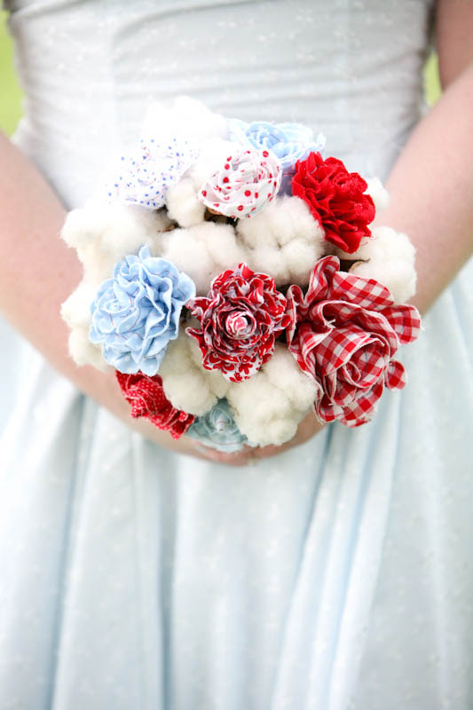 gingham and cotton bouquet