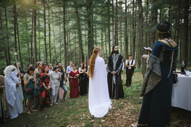 the ceremony itself was a non religious version of the pagan ritual of handfasting the bride said we did some research searched for a lot of different