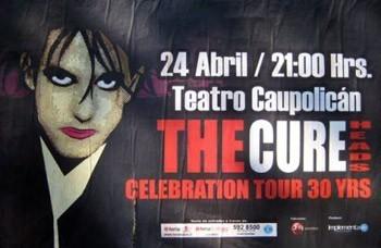 Afiche del concierto de los Cureheads en Santiago