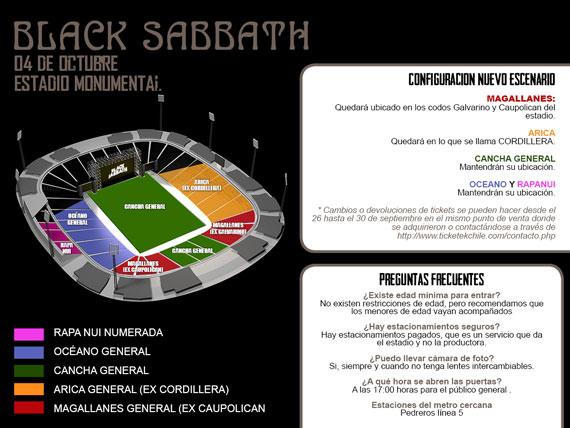 Mapa de ubicaciones - Black Sabbath en Chile 2013