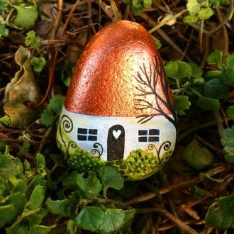 Fairy house painted rock