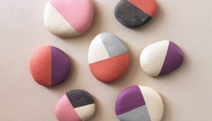 geometric painted rocks