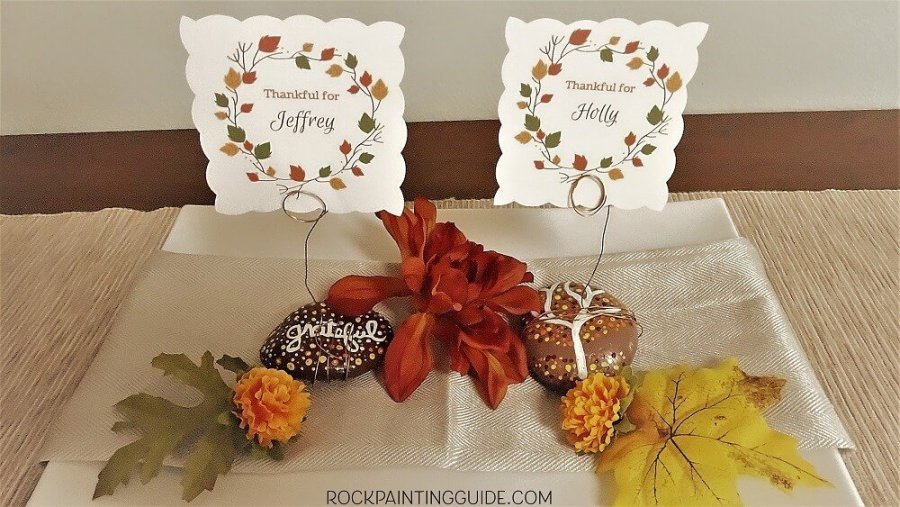 Thanksgiving Placecard Holder Painted Rock