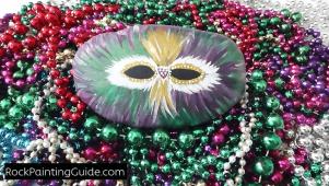 Mardi Gras Mask Painted Rock