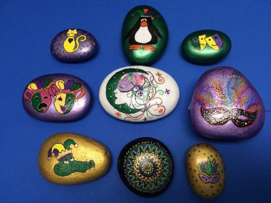 Mardi Gras Painted Rocks