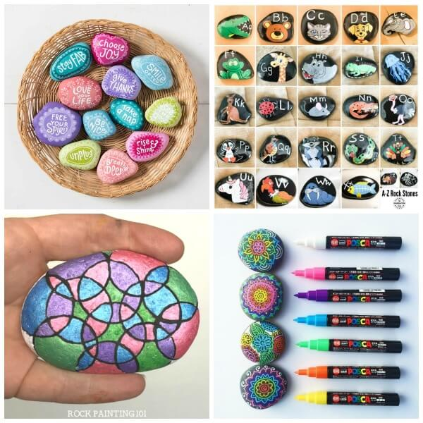 summer rock painting ideas collage 6