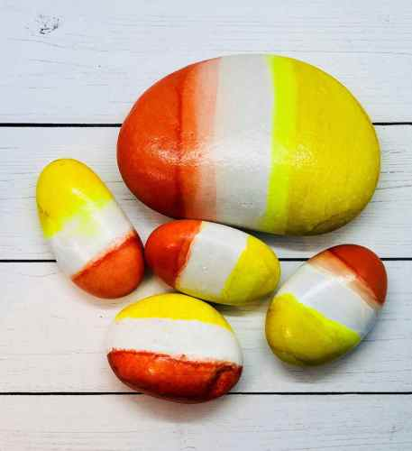 candy corn rock painting