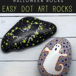 dot art rocks pin - Halloween Dot Art Rock Painting Ideas