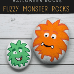 fuzzy monster rocks pin - Fuzzy Monster Rock Painting that your Kids will Love!