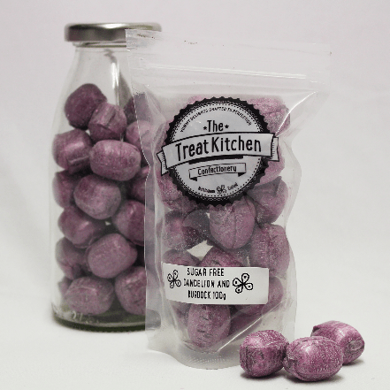 Image of the Sugar Free Dandelion and Burdock Pouch. Sugar free traditional flavour sweets. Resealable pouch.