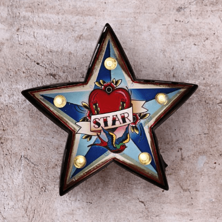 Image of a small carnival star light. LED bulbs. Battery Powered.