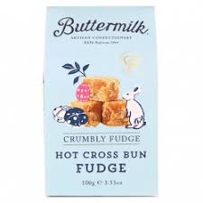 Image of a box of Hot Cross Bun Fudge. From Buttermilk in Padstow.
