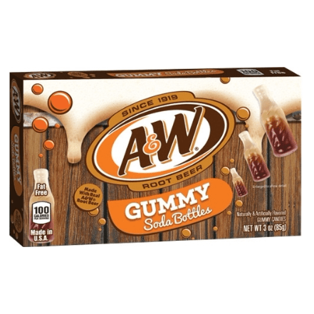 Image of a box of AW Root Beer Gummy soda bottles. Made with Real Root Beer