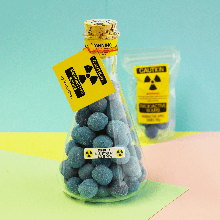 Image of Radioactive Blue Raspberry Sours Flask. Lab grade flask with super sour sweets.