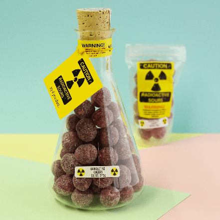 Image of Radioactive Cherry Sours Flask. Lab grade flask with super sour sweets.